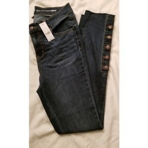 NWT NY&CO Raw Hem High Rise Skinny Jeans sz 6